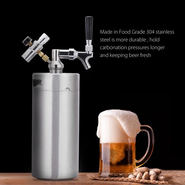 Portable Stainless Steel Pressurized Keg Growler | Kegerator for Home Brew Beer | 64 Ounce(2L)