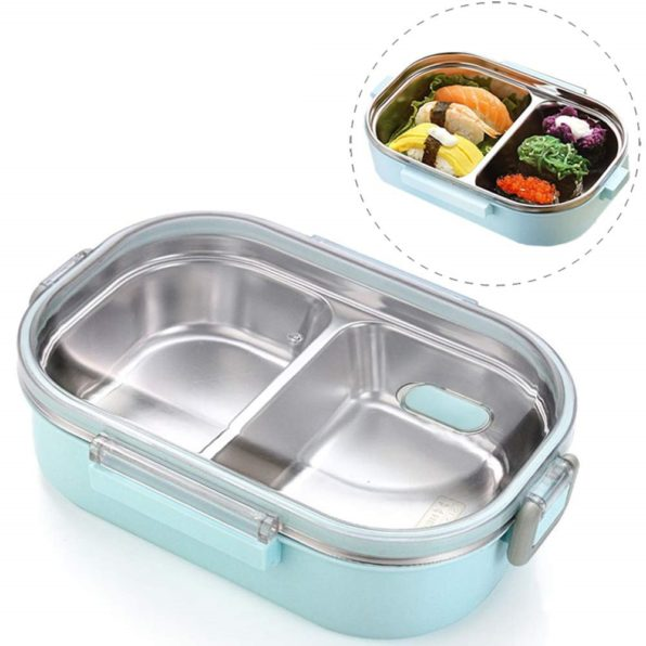 Japanese Style Stainless Steel Bento Lunch Box & Food Container For Adults & Kids | 22 oz