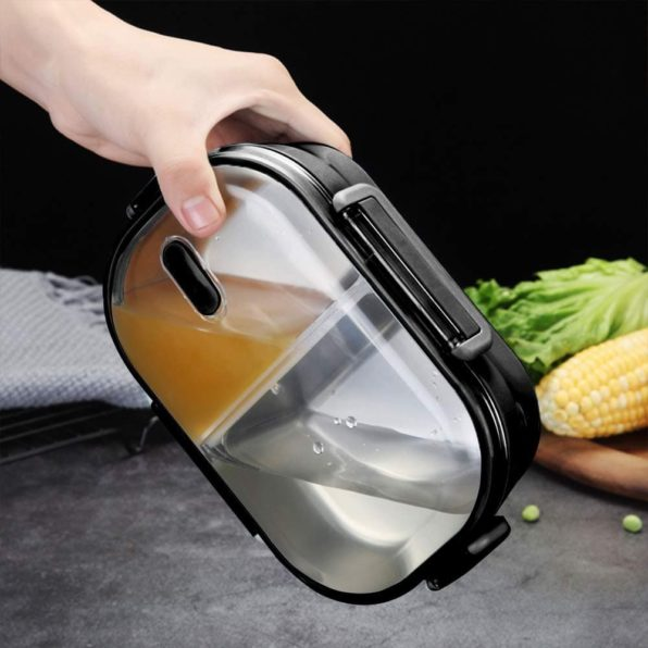 Stainless Steel Japanese Style Insulated Bento Lunch Box | Adults and Kids | 22 oz