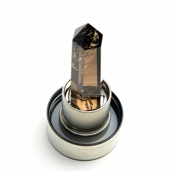 Natural Quartz Elixir Gemstone Infuser Glass Crystal Water Bottle