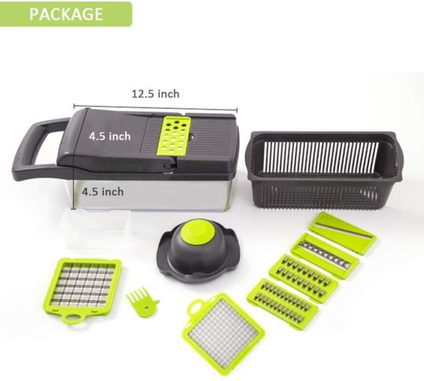 2020 New High Quality German Blades Multi Function Vegetable Cutter & Mandoline Slicer Adjustable 304 Stainless Steel Blades Onion Fruits Fries Tomato Cucumber Cheese Potato Fry Carrot Veggie Machine | Best Quality Mandoline Shredder| Vegetable Chopper Grater Salad Potato Chip Maker | Thin Thick Coarse Wave Strips Cut