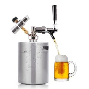 Portable Stainless Steel Pressurized Keg Growler | Kegerator for Home Brew Beer | 64 Ounce(2L)