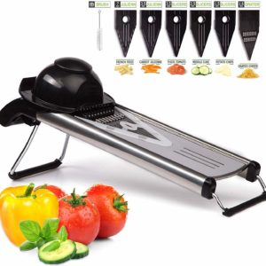 German 304 Stainless Steel V Blades Multi Function Vegetable Cutter & Mandoline Slicer Adjustable Blades Onion Fruits Fries Tomato Cucumber Cheese Potato Fry Carrot Veggie Machine | Best Quality Mandoline Shredder| Vegetable Chopper Grater Salad Potato Chip Maker | Thin Thick Coarse Wave Strips Julienne Cut for Sale Buy Online Best Price