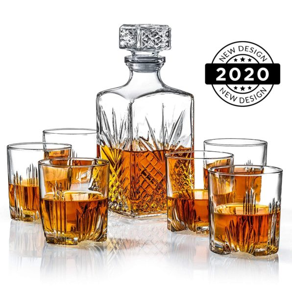 Italian Made 7-Piece Classy Decanter & Whiskey Glasses Set | New