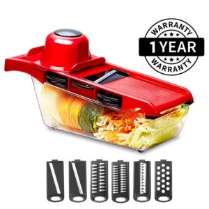 Multi Function 6-in-1 Vegetable Cutter & Mandoline Slicer with Interchangeable Stainless Steel Blades