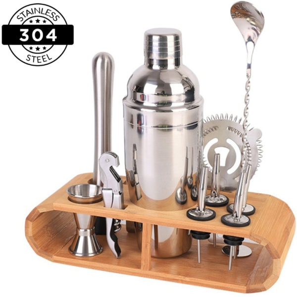 Heavy Duty 12-Piece Stainless Steel Bartender Kit | Bar Tool Set with Stylish Bamboo Stand | New-The H2O™ Water Bottles-The H2O™ Water Bottles - Buy Now Order For Sale Best Price Online Shop Purchase Review Amazon Walmart Best Buy Free Shipping