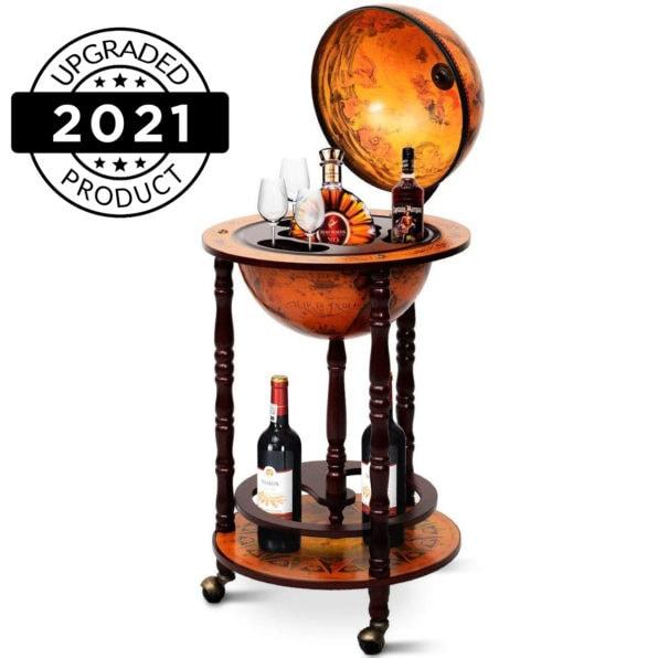 "Best Portable Moving 13"" Wood Globe Wine Liquor Whiskey Bottle Shelf Mini Bar Stand Rack with Wheels Storage Cabinet Container Century Italian Wooden Design Buy"