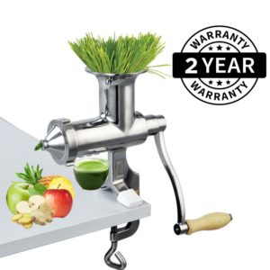 Heavy Duty Stainless Steel Manual Hand Crank Herb, Vegetable & Wheatgrass Juicer | Commercial & Home