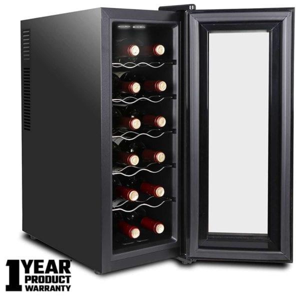 Premium Thermostatic Wine Cooler | 8/12/16 Bottles Wine Refrigerator with Interior Lighting